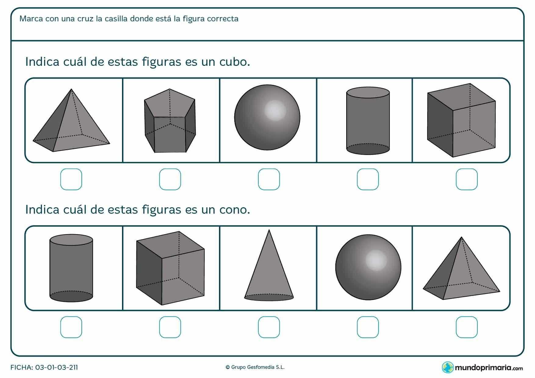 Ficha de cubos para niños de primero de primaria en el que se aprende a distinguir entre diferentes formas.