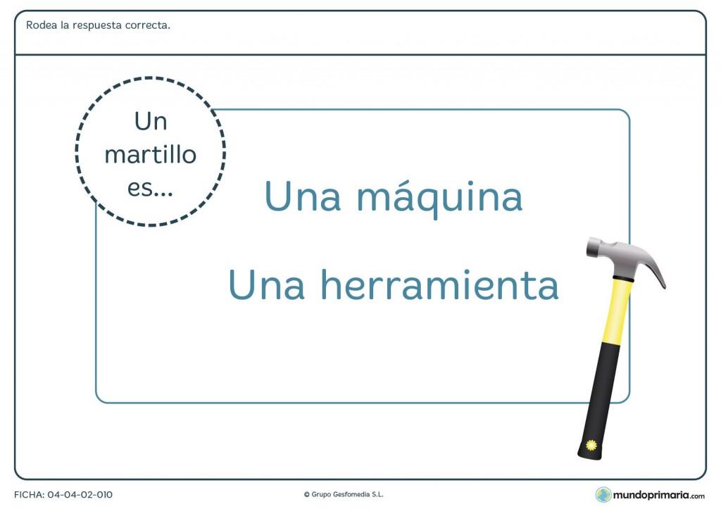 Ficha de diferenciar herramientas y máquinas para primaria