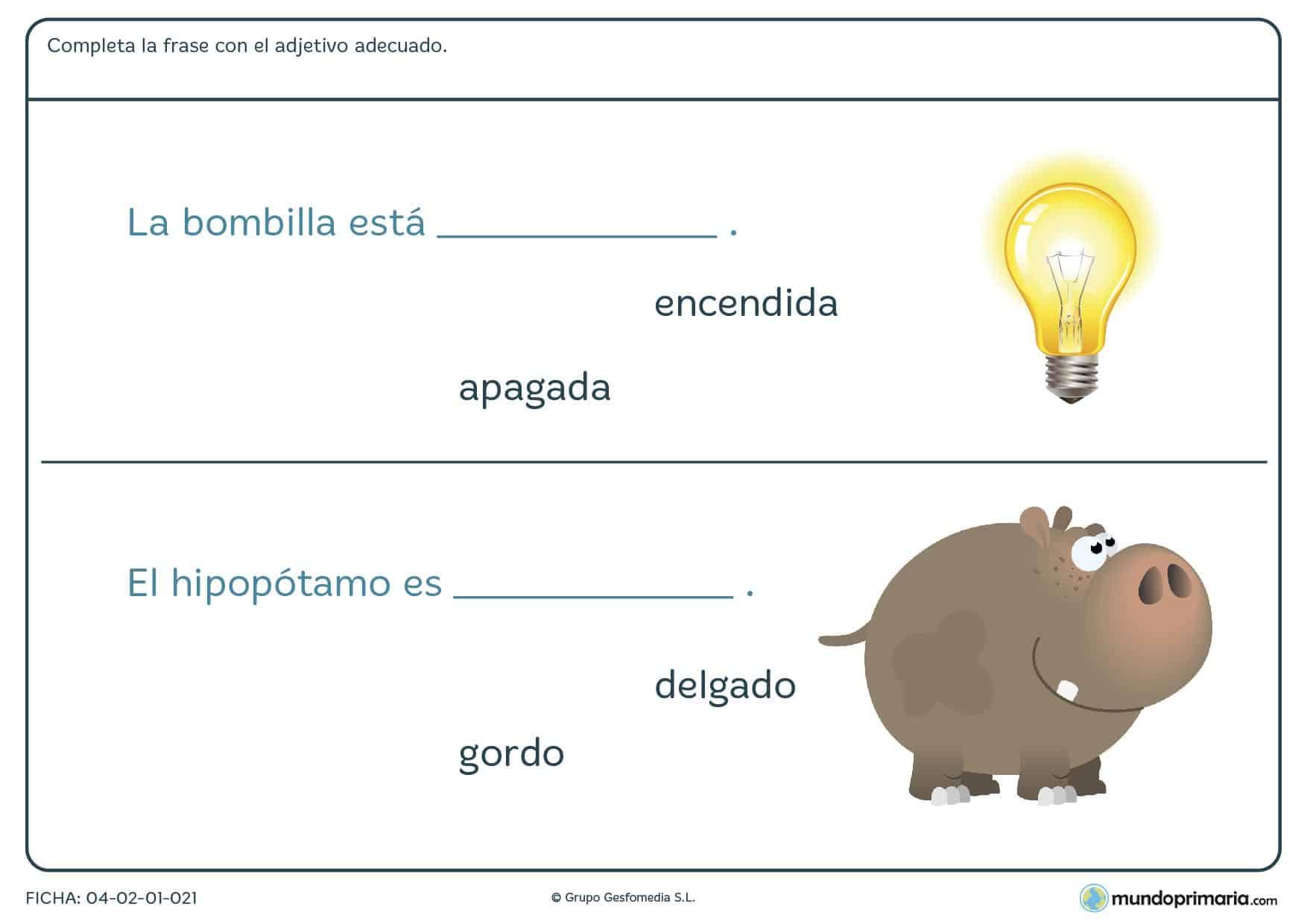 Elige el adjetivo adecuado según corresponda para repasar lenguaje de segundo de primaria con esta ficha