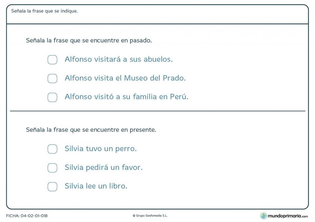 Ficha de elegir la frase en pasado y presente para primaria