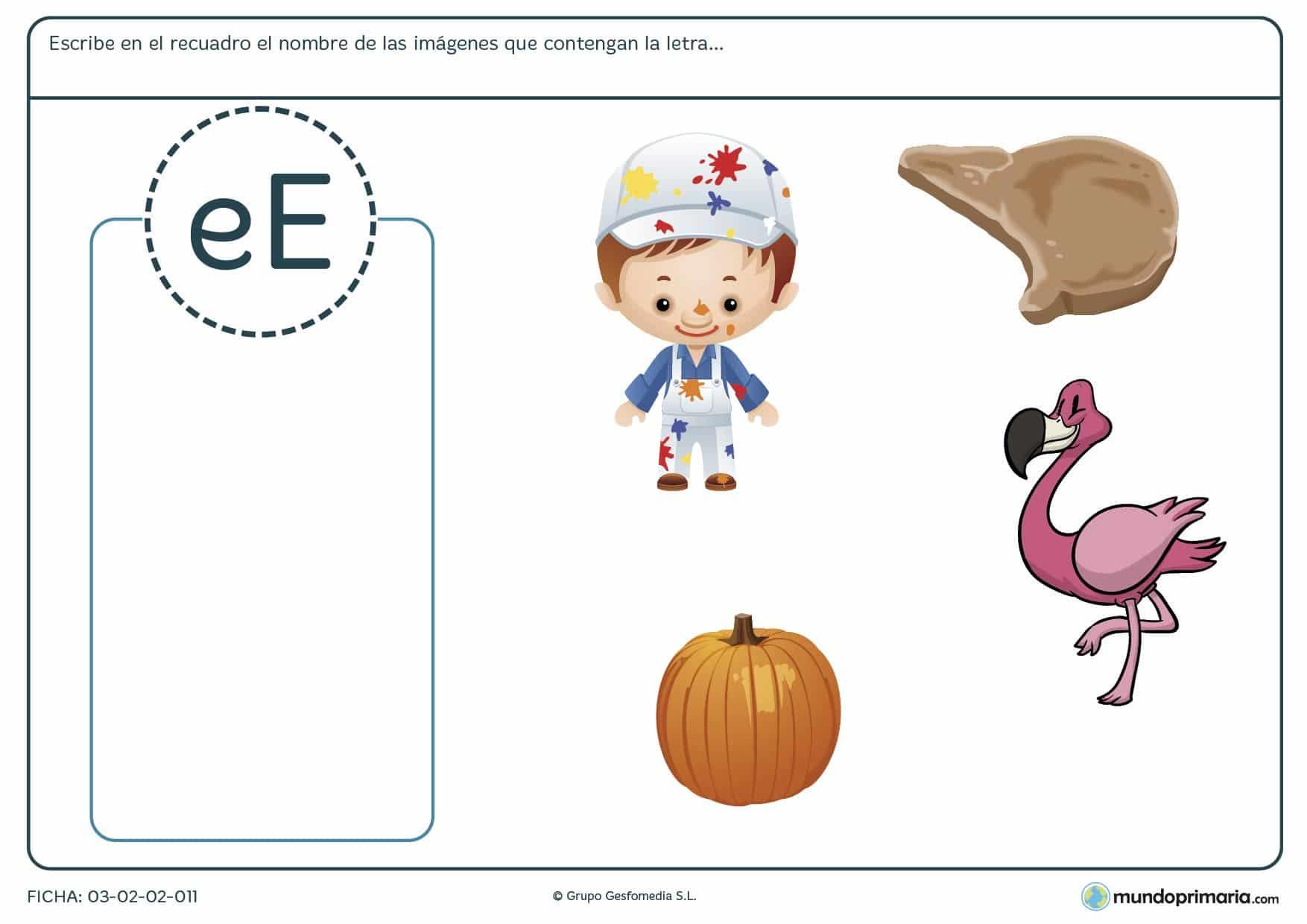 Ficha de elegir las palabras con la letra e para aprender vocabulario en primer curso de Primaria.