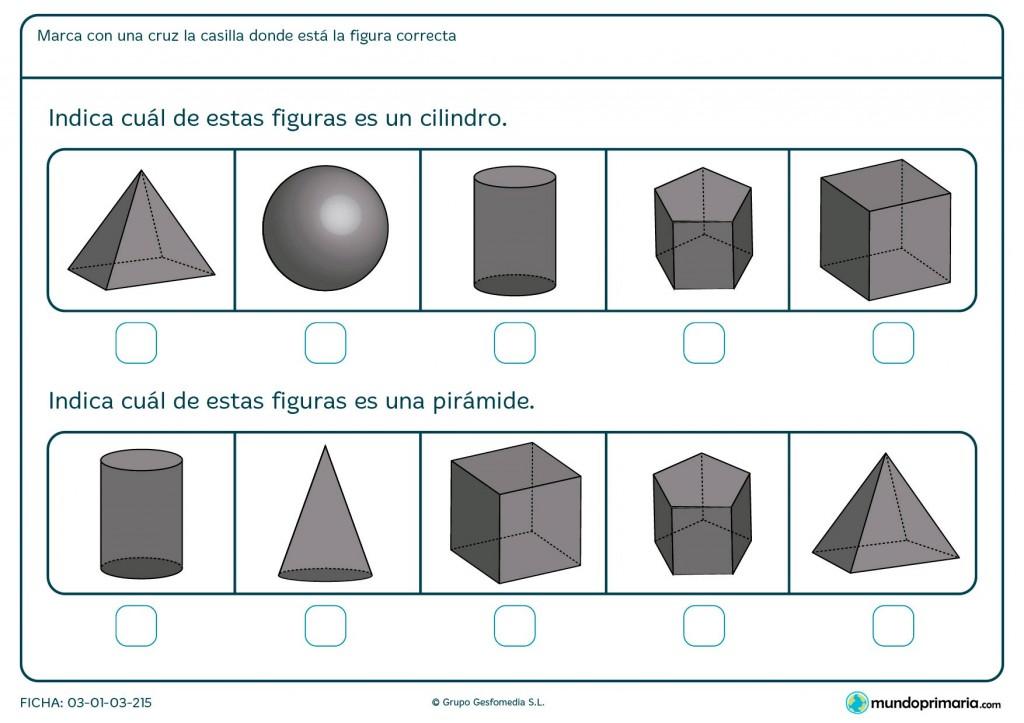 Ficha de encontrar la pirámide para niños de primaria