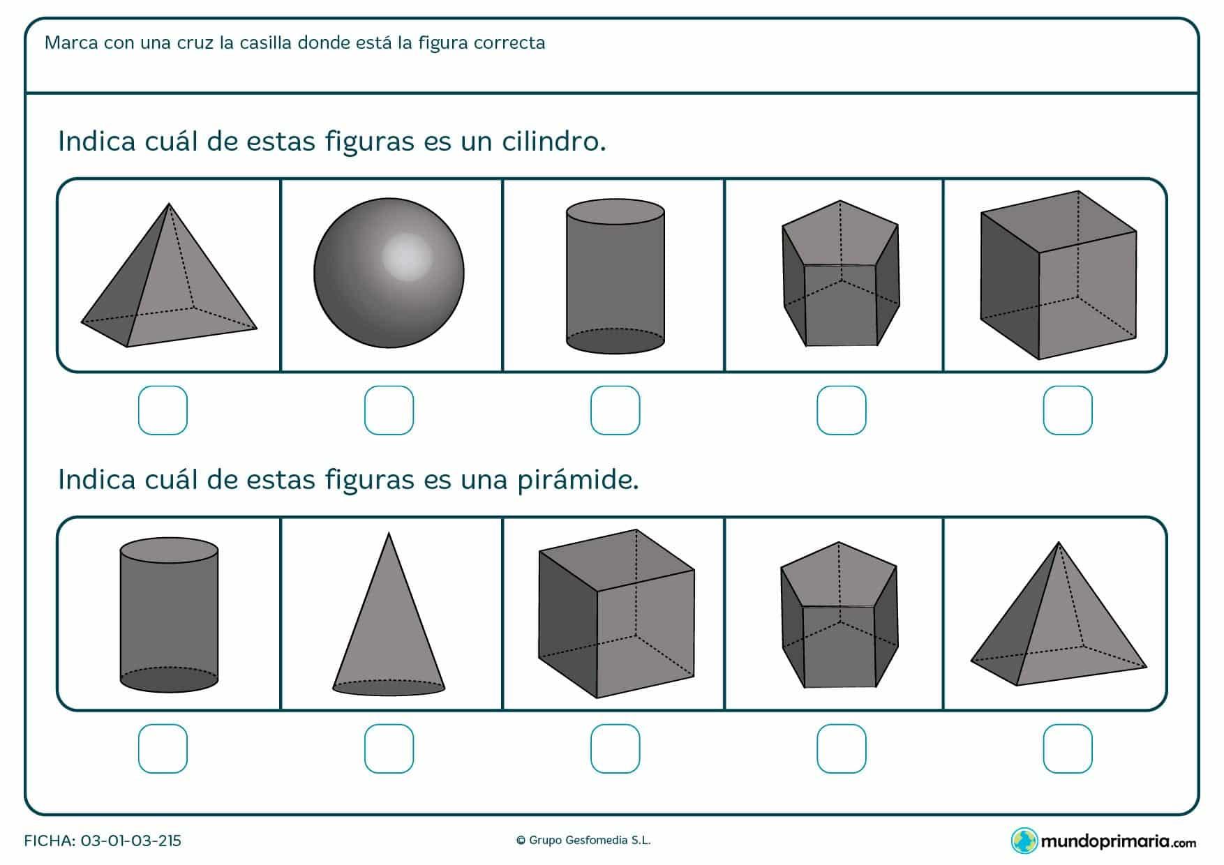 Ficha para niños de primero de primaria sobre diferenciar y encontrar formas como la pirámide o el cilindro.
