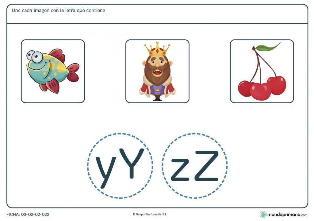 Ficha de enlazar cada imagen con su letra para niños de 6 y 7 años
