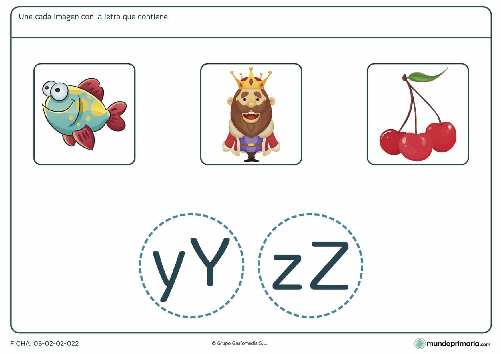 Ficha de enlazar cada imagen con su letra para practicar vocabulario y ortografía en 1º de Primaria