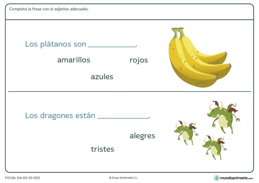 Ficha de escribir el adjetivo correcto para primaria