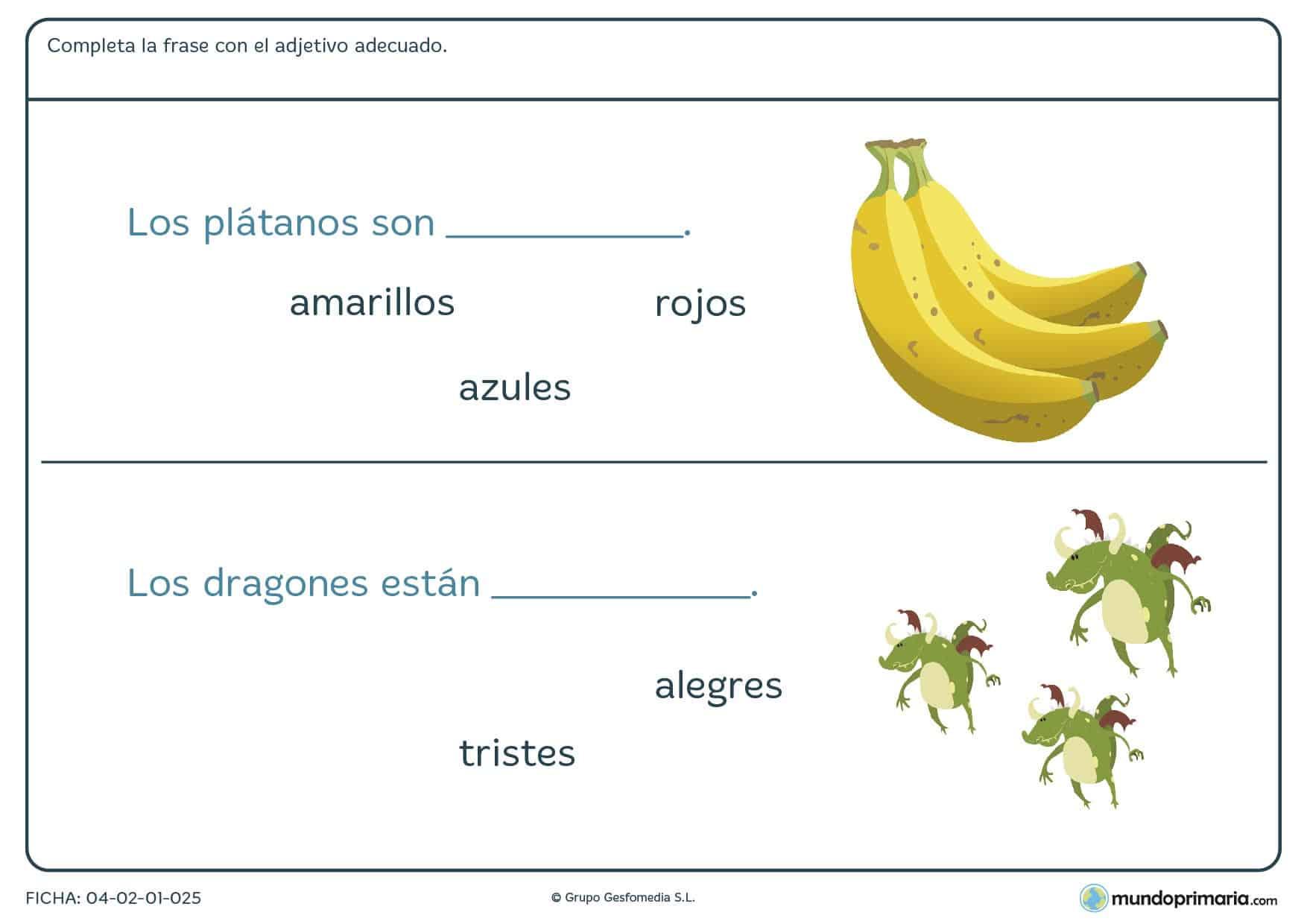 Escribe el adjetivo correcto según corresponda en esta ficha para niños de 7 a 8 años