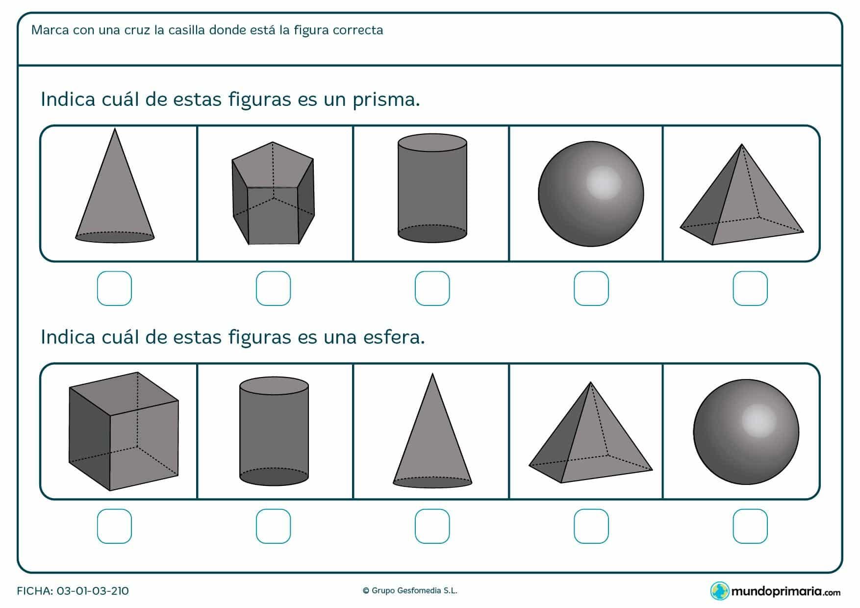Ficha de esféricos para que los niños de primero de primaria indiquen cual es la figura correspondiente.