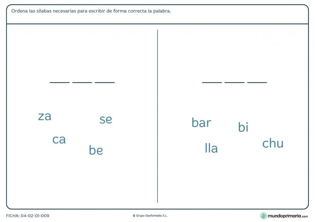 Ficha de formar palabras con sílabas para primaria