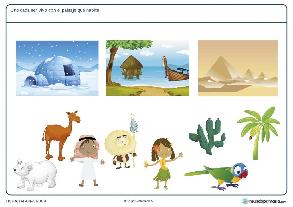 Ficha de habitantes y paisajes para primaria