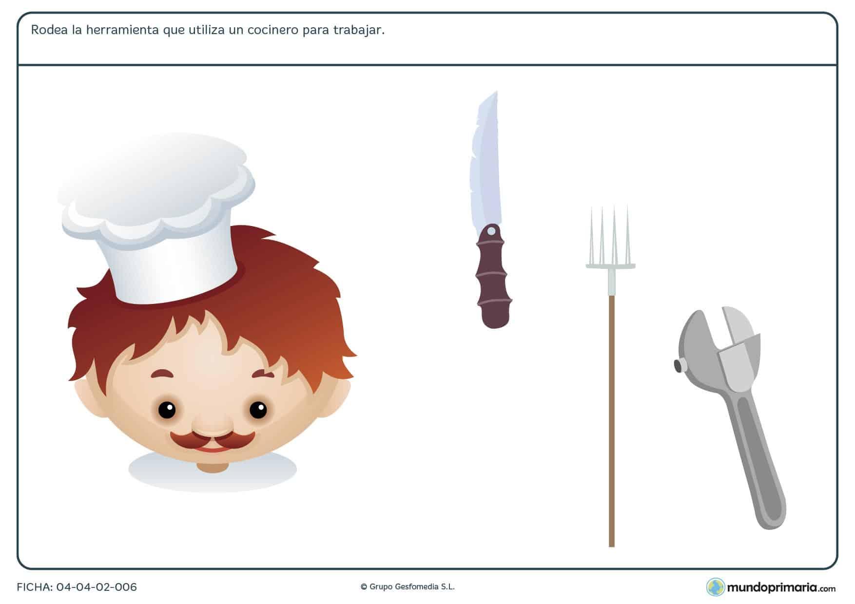 Ficha de herramientas del cocinero en el que hay que rodear cúal de las herramientas proporcionadas utiliza el cocinero para trabajar.