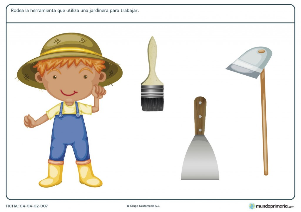 Ficha de herramientas del jardinero para primaria
