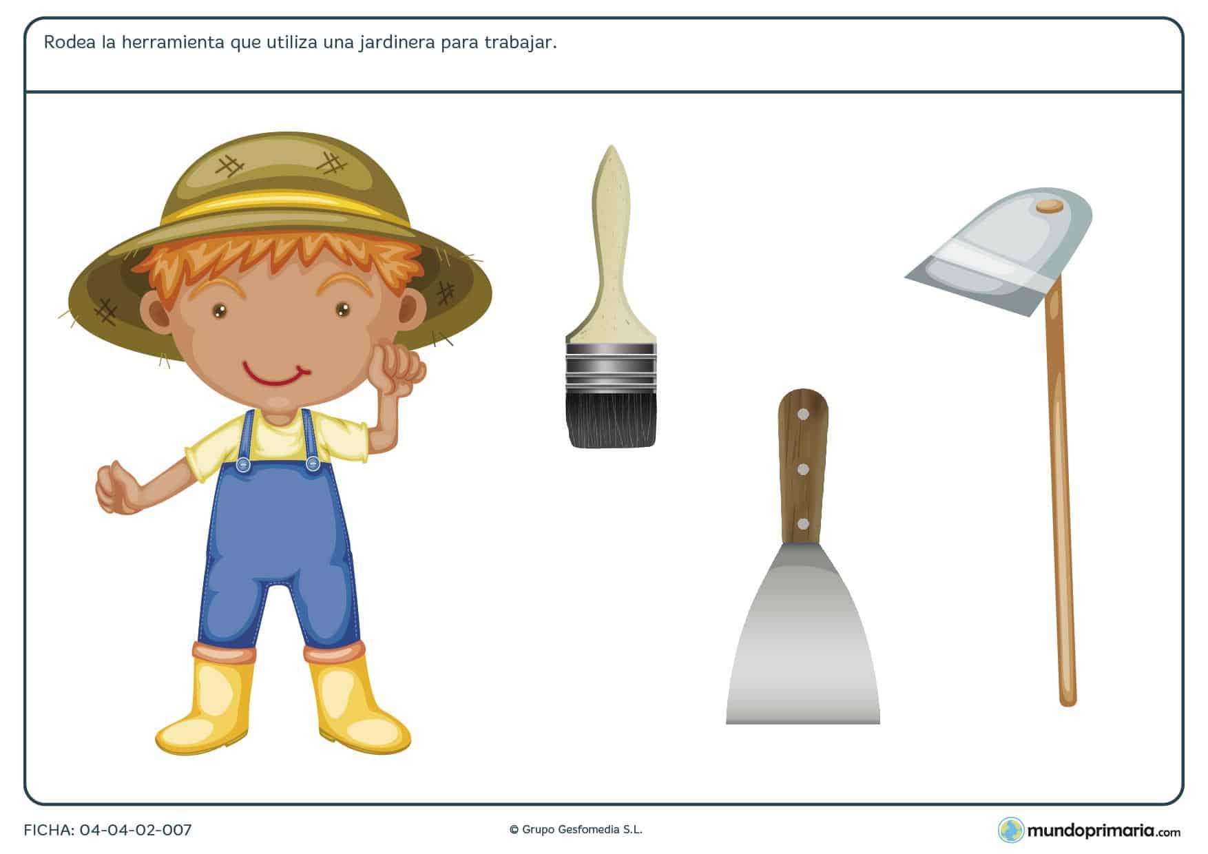 Ficha de herramientas del jardinero en el que hay que rodear cúal de las herramientas proporcionadas utiliza el jardinero para trabajar.