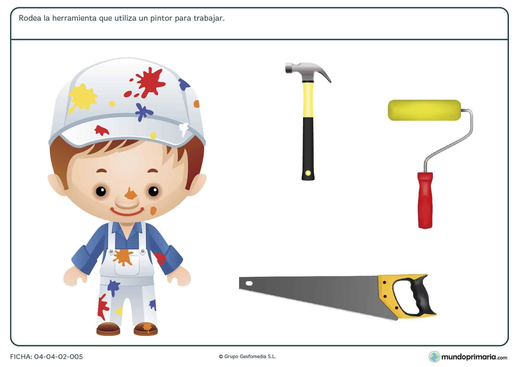 Ficha de herramientas del pintor en el que hay que rodear cúal de las herramientas proporcionadas utiliza el pintor para trabajar.