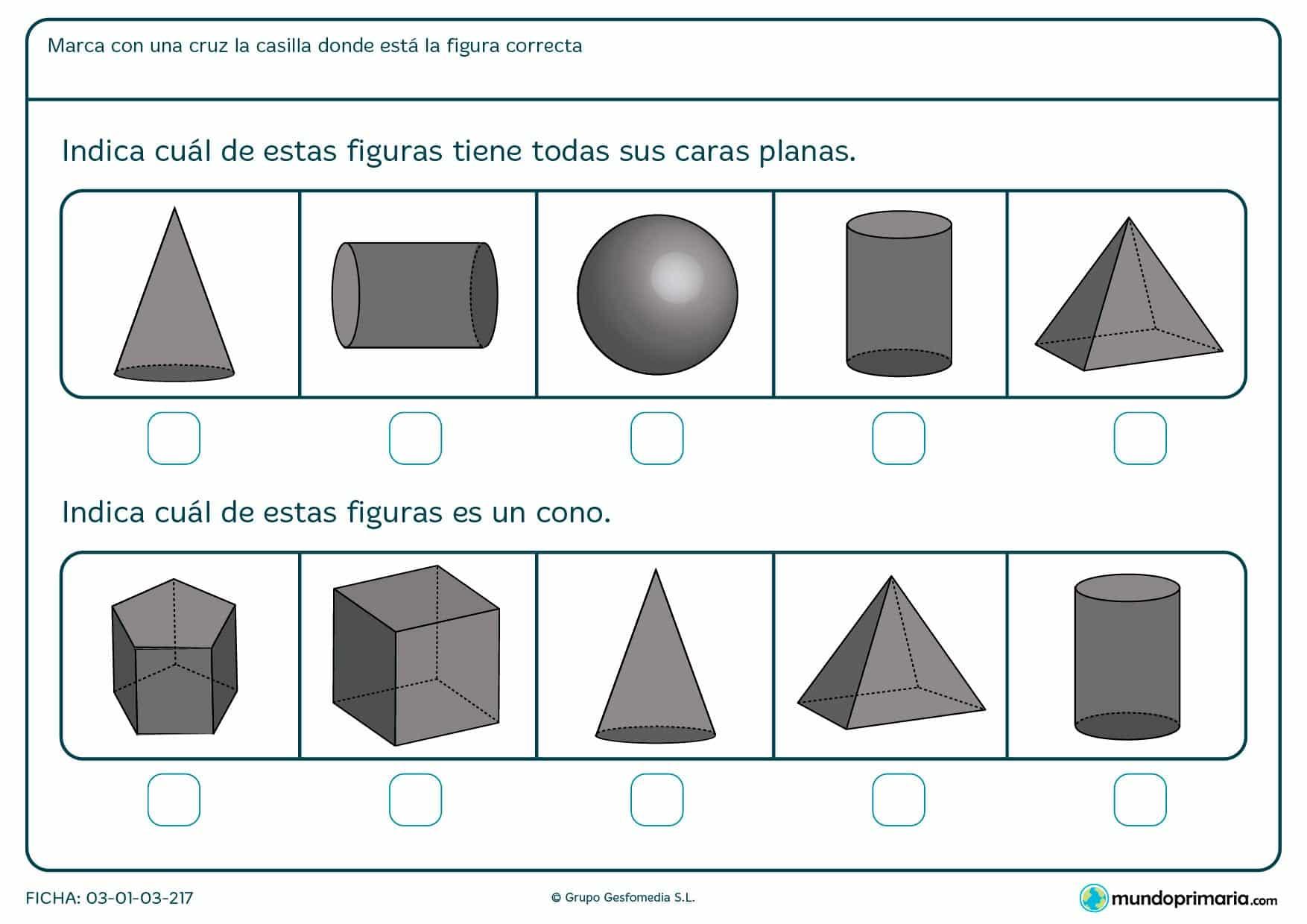 Ficha para niños de primaria destinada a familiarizarse con distintas formas e identificar figuras con caras planas o el cono.