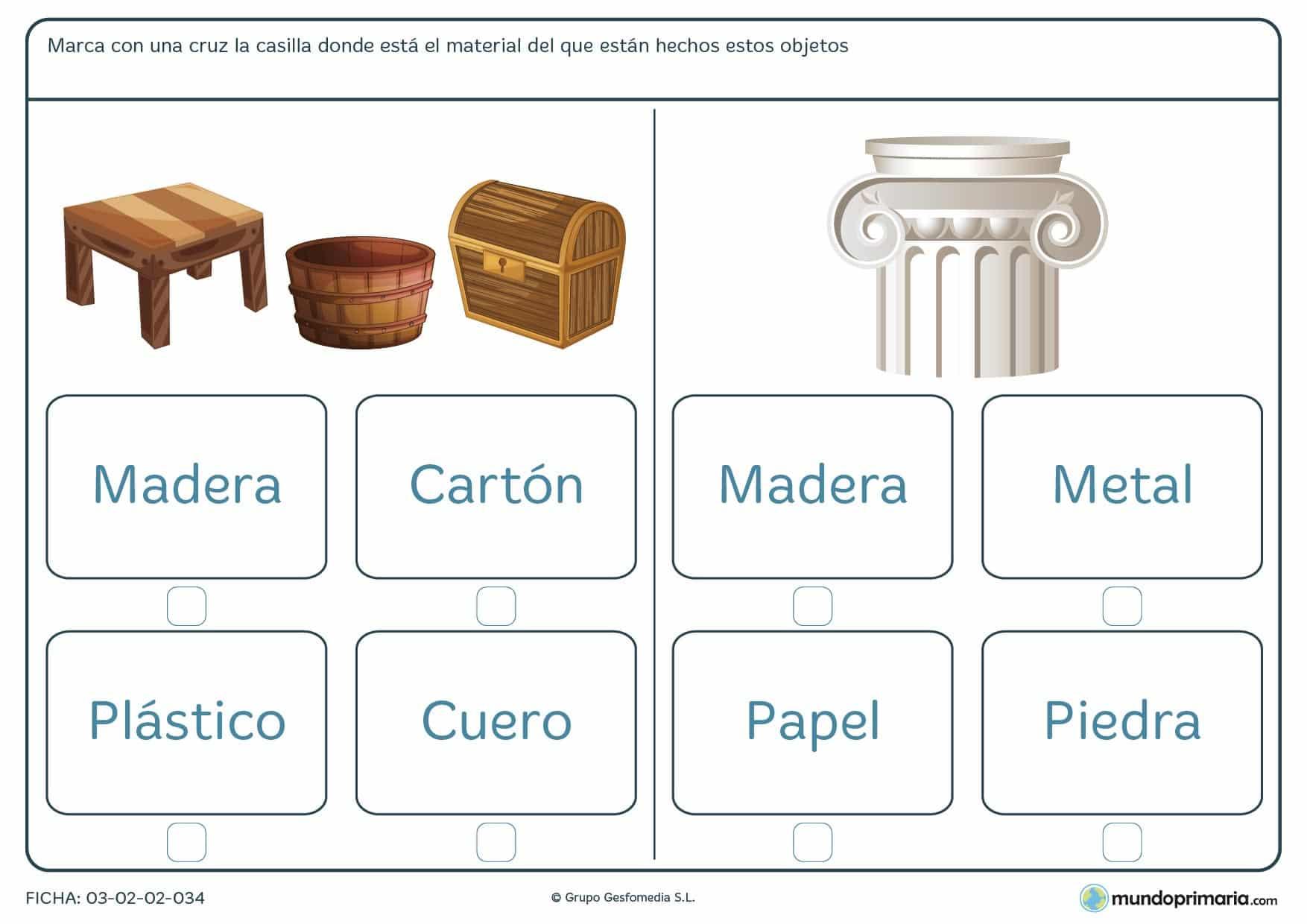 Ficha de identificar el material de los objetos para aprender de qué están hechas las cosas en 1º de Primaria.