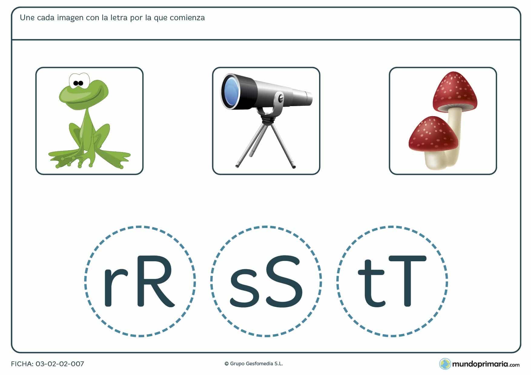 Ficha de identificar la primera letra de las palabras para aprender ortografía en 1º de Primaria.