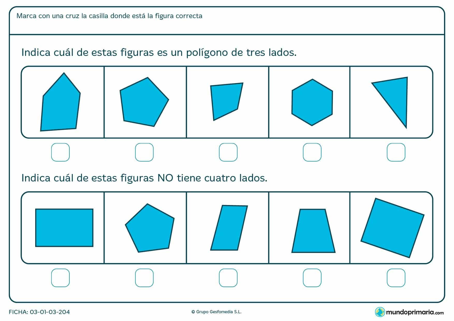 Ficha de imagen de cuatro lados en el que los niños de primero de primaria realizan ejercicios que ayudan a distinguir polígonos de distintos lados.