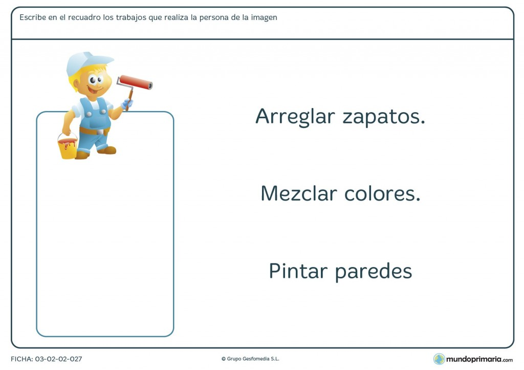 Ficha de las funciones y los trabajos para primaria