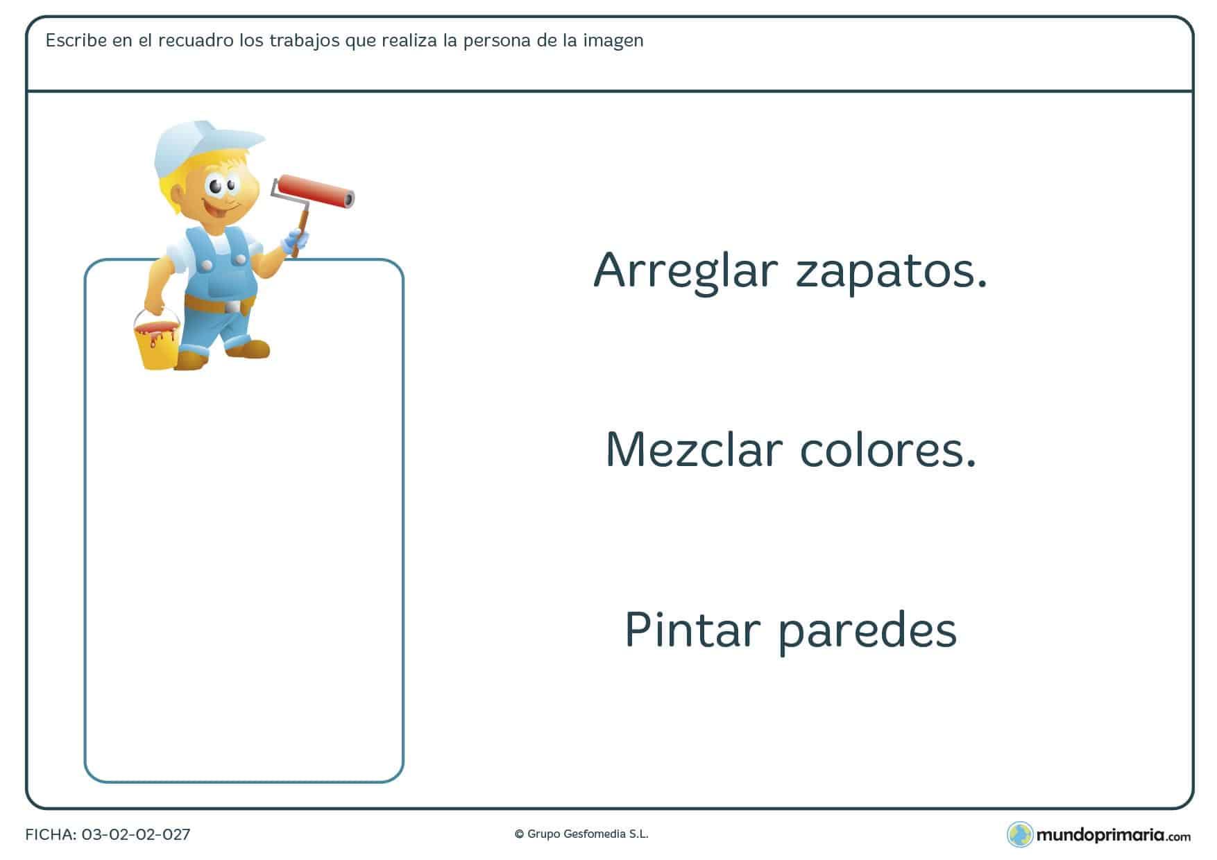 Ficha de las funciones y los trabajos para aprender el vocabulario de las profesiones y sus tareas en 1º de Primaria.