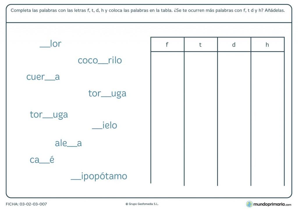 Ficha de las letras F T D y H para primaria