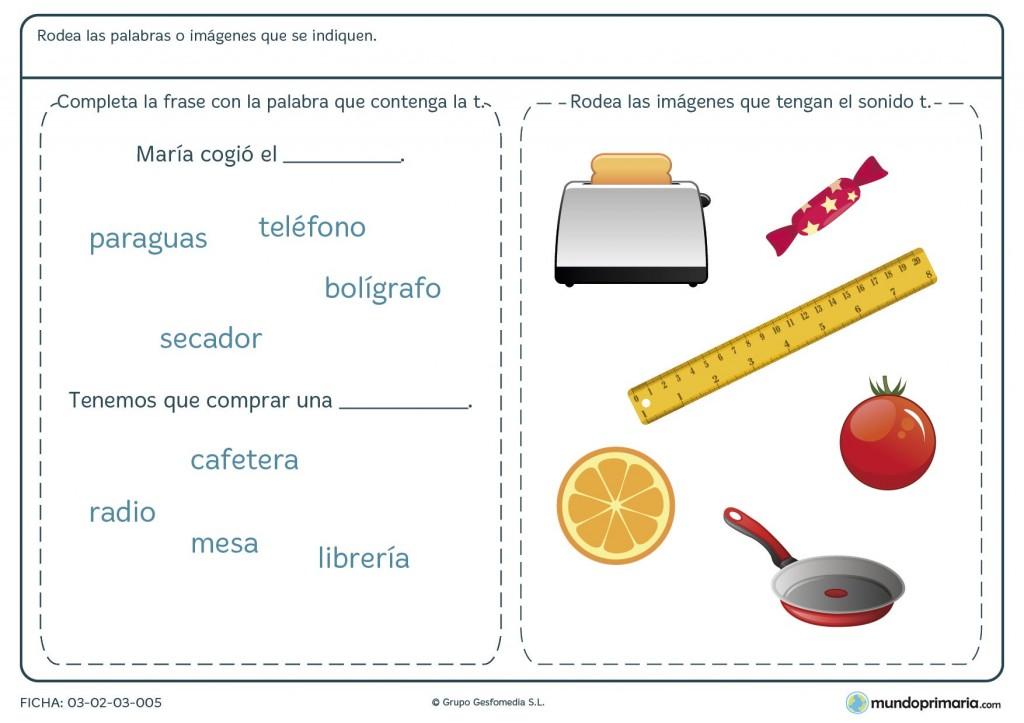 Ficha de las palabras con la T para primaria