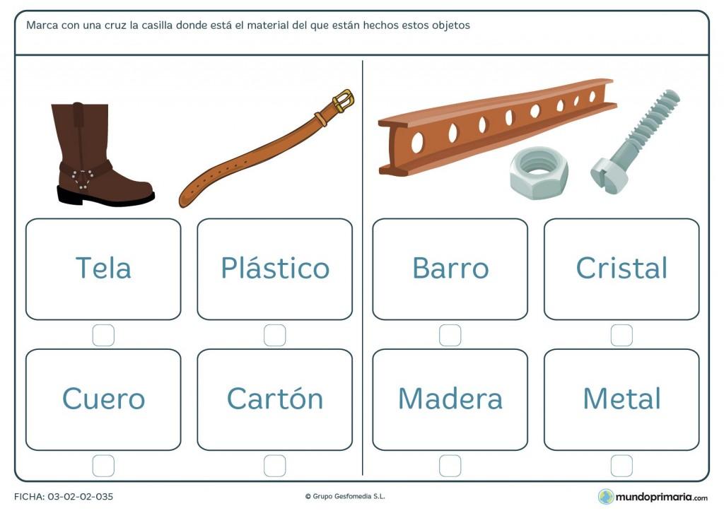 Ficha de los materiales para primaria