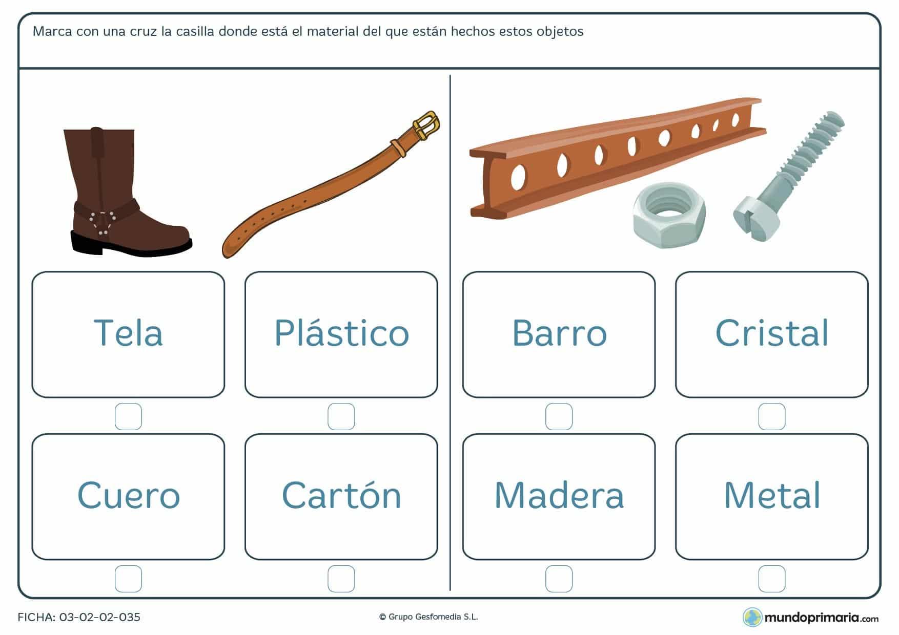 Ficha de los materiales para aprender nuevo vocabulario en 1º de Primaria.