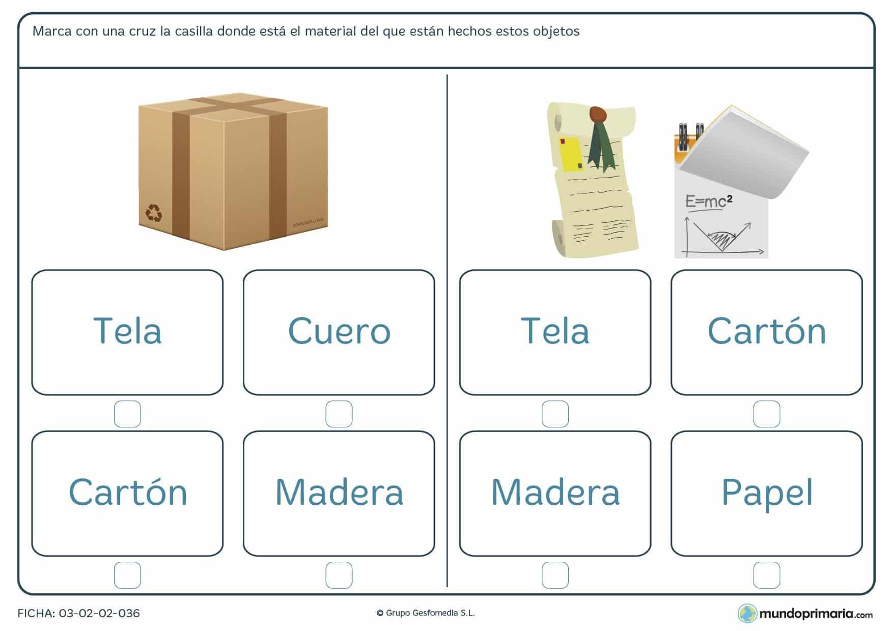 Ficha de los objetos y sus materiales para aprender vocabulario en 1º de Primaria.