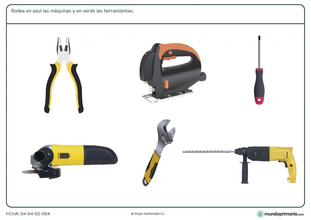 Ficha de máquinas y herramientas para primaria