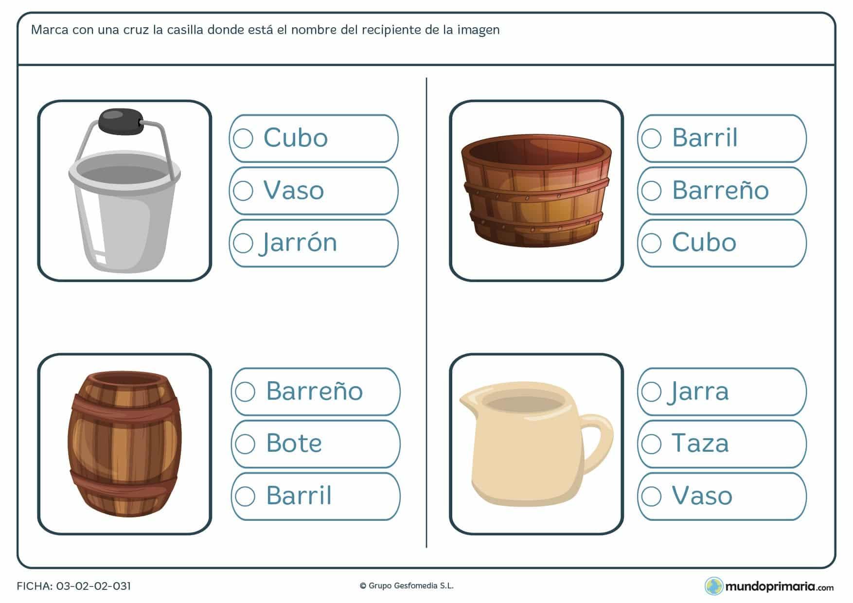 Primaria ejercicios vocabulario lengua primero