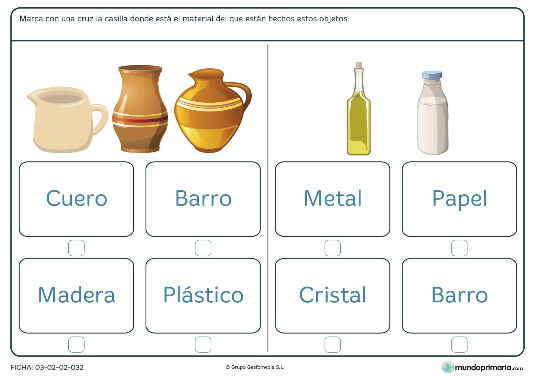Ficha de marcar el material del objeto para aprender de qué está hecho cada envase en 1º de Primaria.