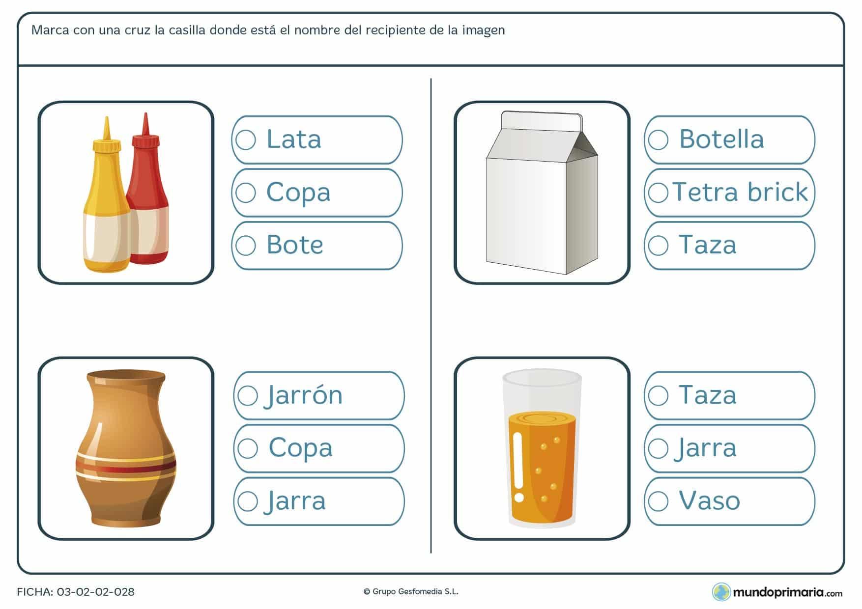 Ficha de marcar la casilla del nombre correcto para aprender el vocabulario de los envases en 1º de Primaria.