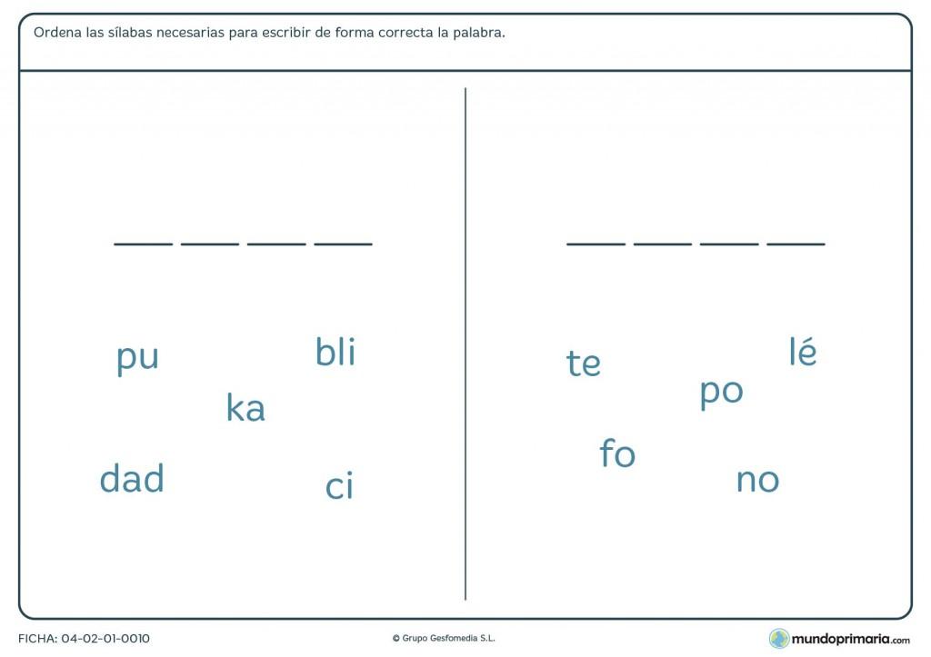 Ficha de ordenar sílabas para formar palabras para primaria