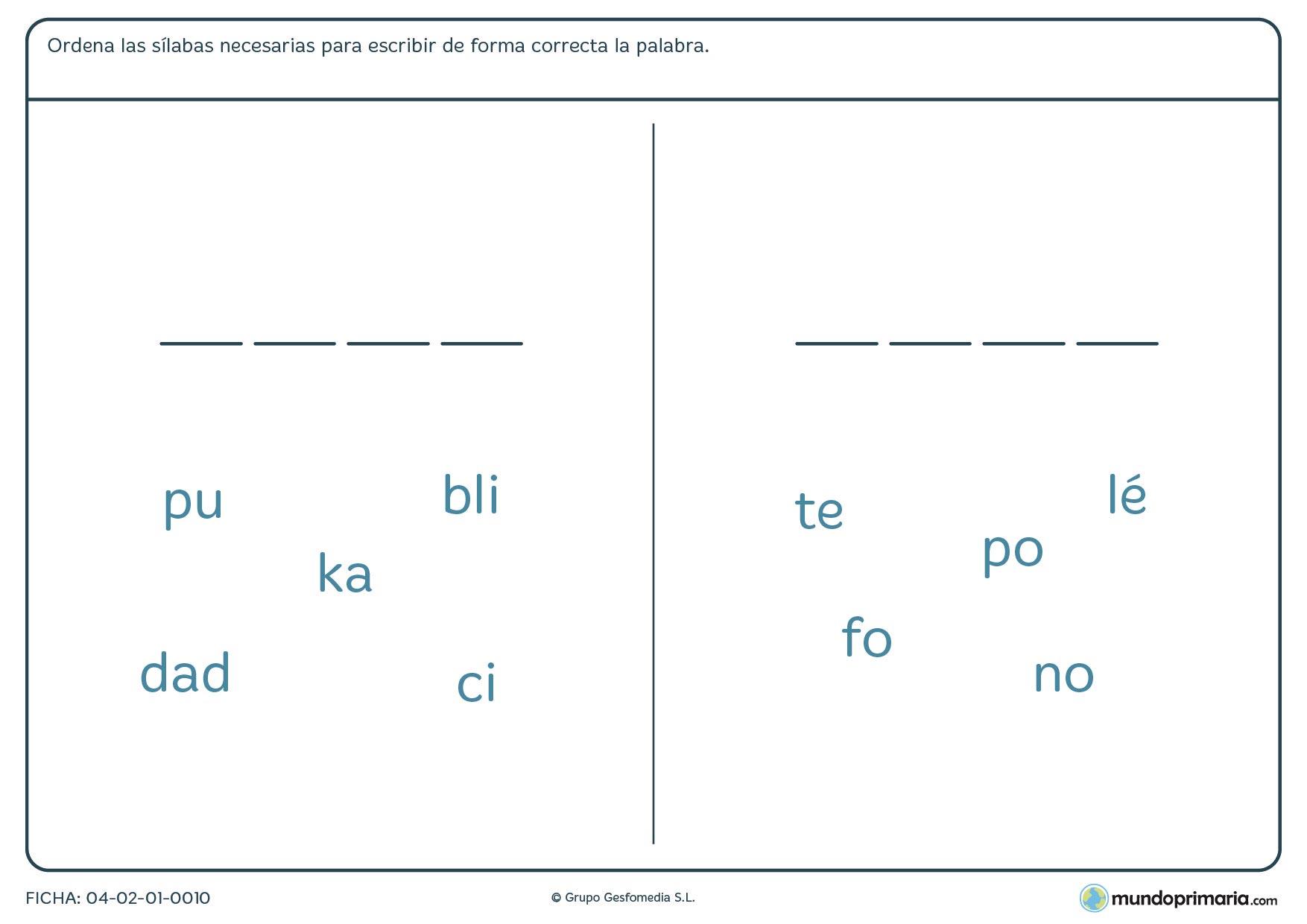 Ficha de ordenar las sílabas dadas para formar la palabra correcta para niños de 7 a 8 años