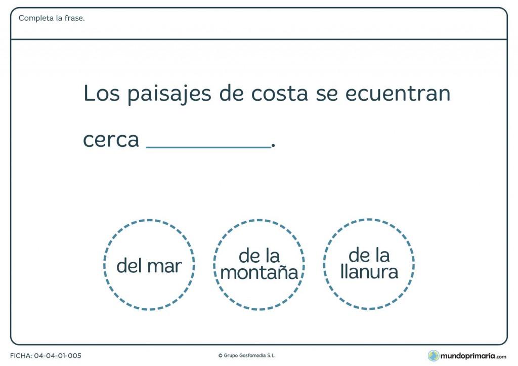 Ficha de paisajes de costa para primaria