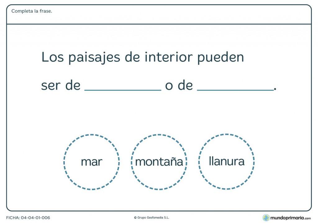 Ficha de paisajes de interior para primaria