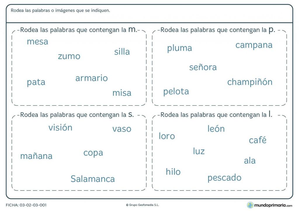 Ficha de palabras con M P S y L para primaria