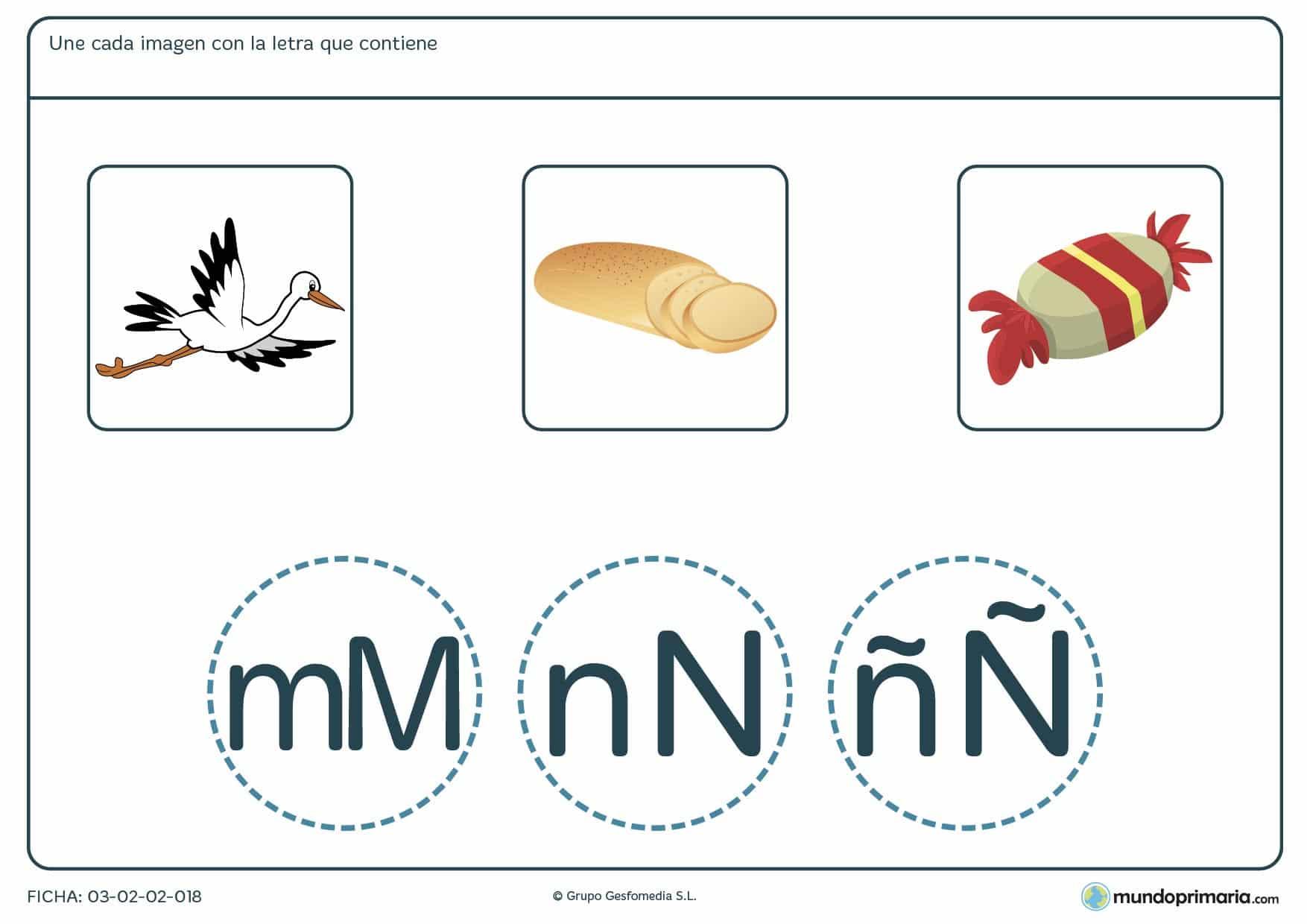 Ficha de palabras y letras para unir y aprender vocabulario y practicar ortografía en 1º de Primaria.