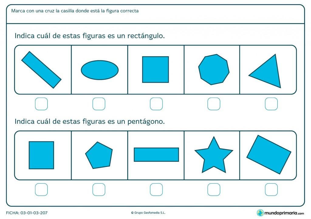Ficha de paralelogramos para 1º de primaria