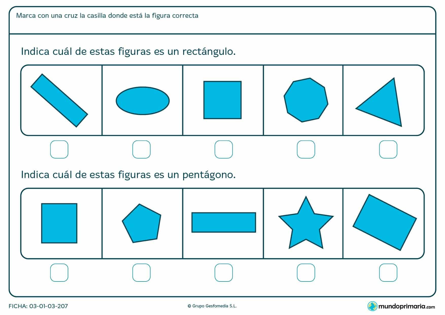 Ficha de paralelogramos en el que los niños de primero de primaria aprenden a diferenciar diferentes formas geométricas.