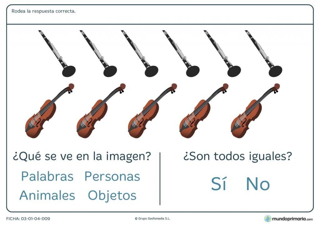 Ficha de preguntas sobre grupos de objetos para primaria