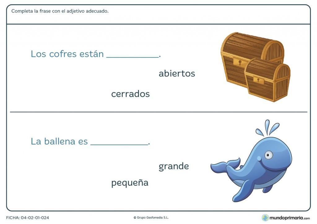 Ficha de recomponer la frase con adjetivos para primaria