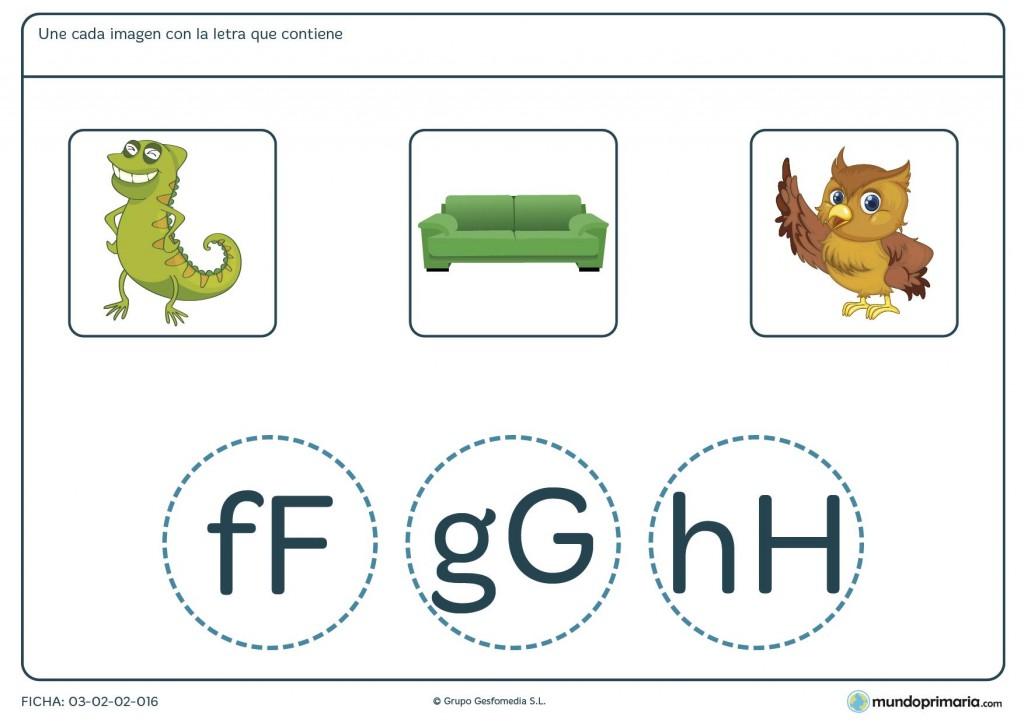 Ficha de relacionar letras con palabras para primaria