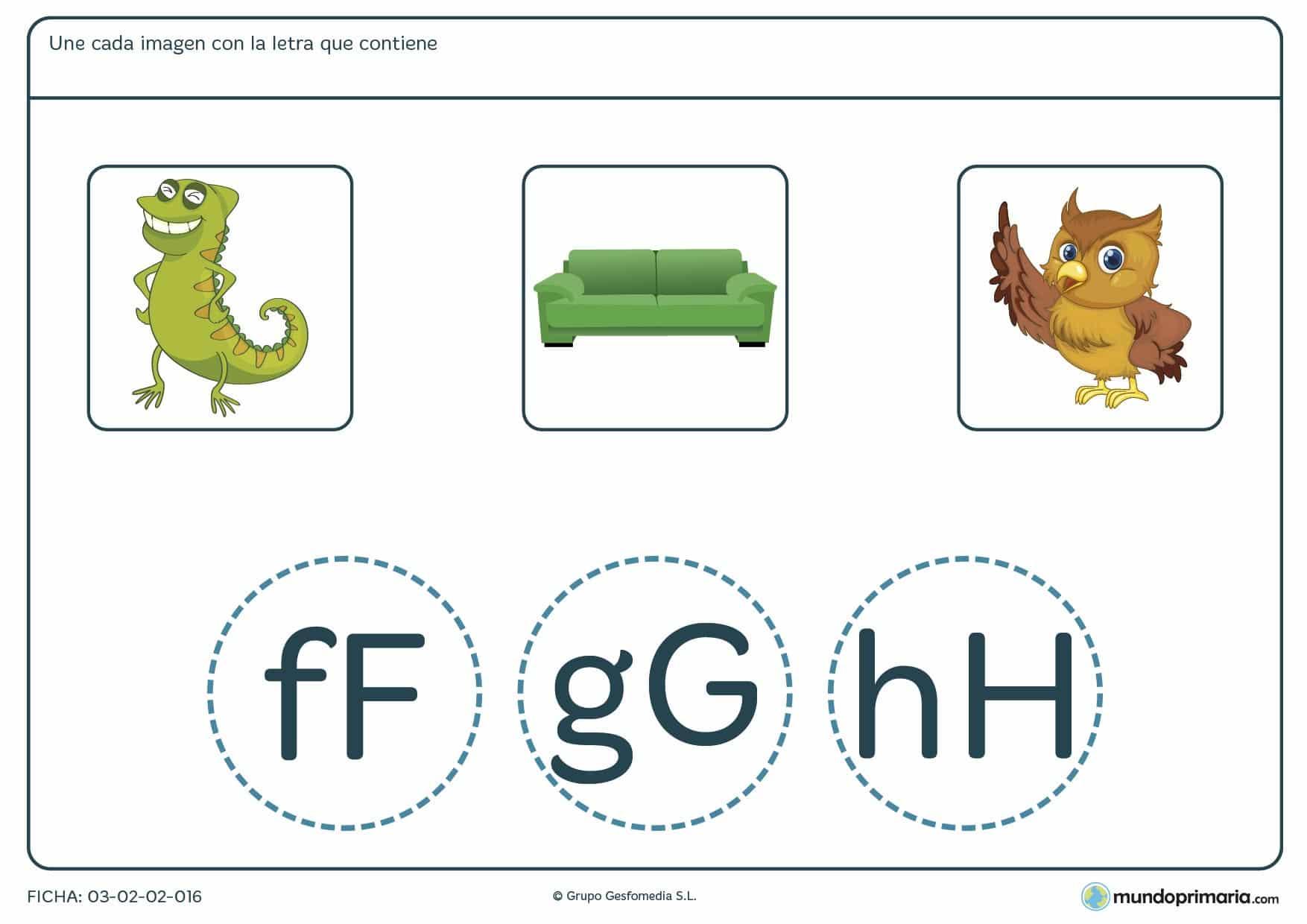 Ficha de relacionar letras con palabras para aprender vocabulario en 1º de Primaria.