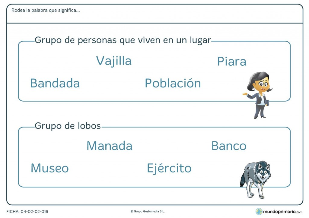 Ficha de relacionar palabras con el grupo de objetos para primaria