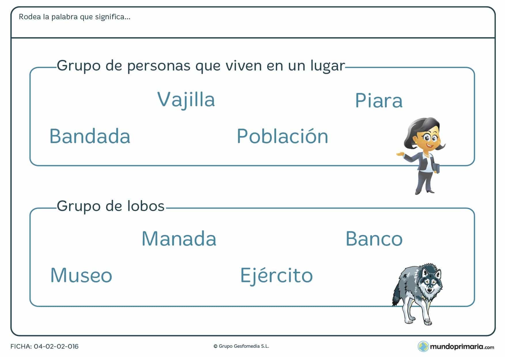 Ficha para niños de segundo de primaria de relacionar palabras con el grupo de objetos en la que tendrás que identificar qué palabra designa al grupo de objetos especificado en el enunciado.