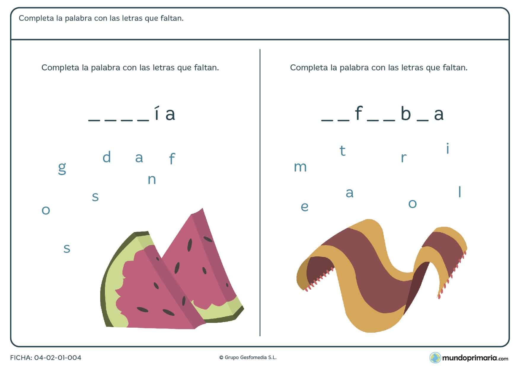 Ficha de rellenar los huecos con las letras correctas para formar palabras para niños de primaria