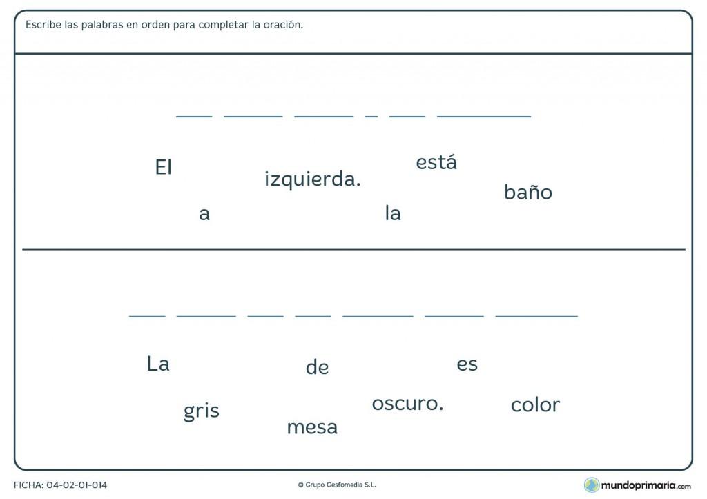 Ficha de rellenar con palabras para formar la frase para primaria