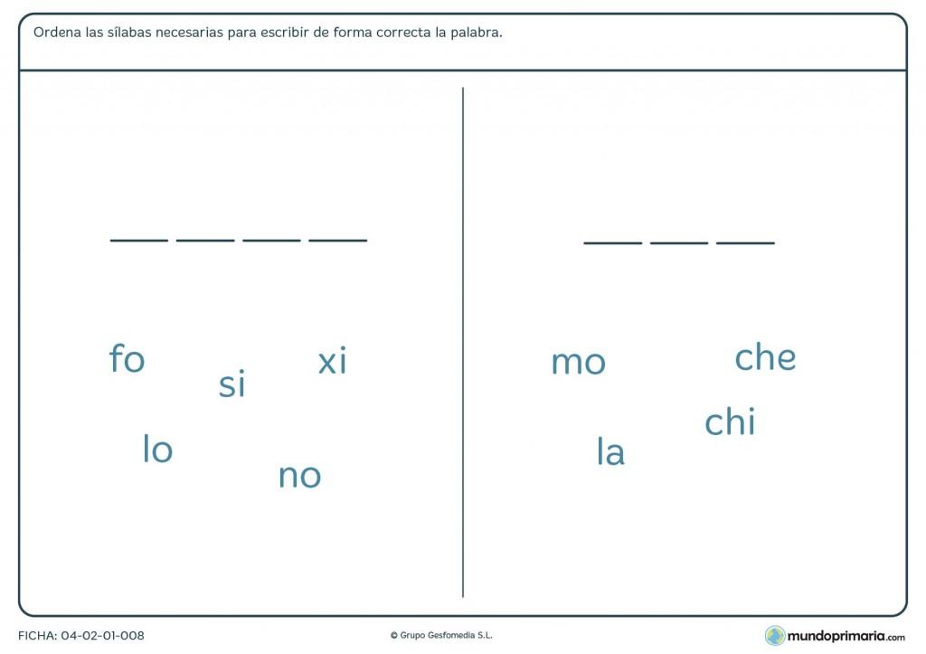 Ficha de rellenar con sílabas para primaria